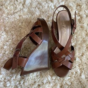Chunky Leather Brown Wedge Sandal